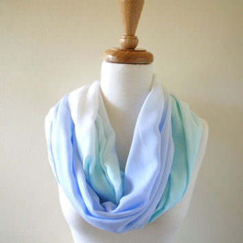 Aqua and Blue Ombre Scarf, Circle Scarf, Lightweight, Summer Scarf, Spring, Sky Blue, Robin Egg, Shaded Hand Dyed