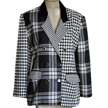 90's Vintage Houndstooth Blazer Plaid Double Breasted Jacket Black and White
