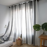 [byetee] Striped Curtains Flax Yarn Grey Translucent Screens Custom Modern Curtains Living Room Bedroom Window Finished Curtain