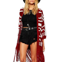 Red Geometric Print V-Neck Fringed Knitted Cardigan