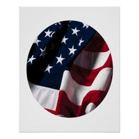 American USA Flag Set In A Circle 24 X 30 Poster
