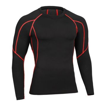 Long sleeve tshirt men crossfit bodybuilding clothing fitness workout body shaper streetwear compression t shirt men tops tee
