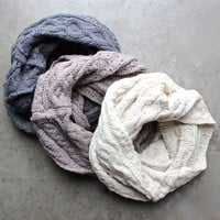 cozy cable knit infinity scarf - 3 colors