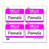 Pamela Hello My Name Is - Sheet of 4 Stickers