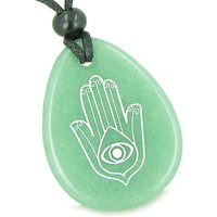 Amulet Magic Hamsa Hand and Evil Eye Reflection Green Quartz Pendant Necklace