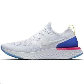 NIKE EPIC REACT FLYKNIT Running Shoes White Blue Red Men's Shoes Women's Shoes F-ADD-MRY