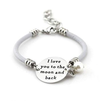 """AUGUAU Mother Daughter Bracelet, """"I Love You To The Moon and Back"""" Gray Leather Charm Bracelet by Balla"""