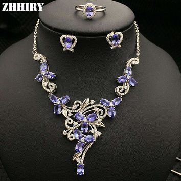 Natural Blue Tanzanite Gemstone Jewelry Sets Genuine Solid 925 Sterling Silver Women Ring Necklace Earring ZHHIRY