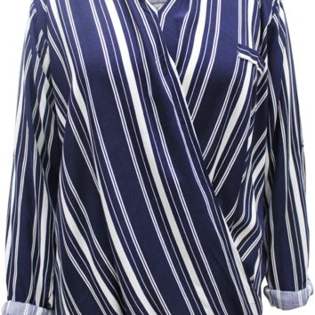 Striped Crossover Blouse