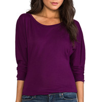 Bobi Light Weight Jersey Boatneck Top in Purple