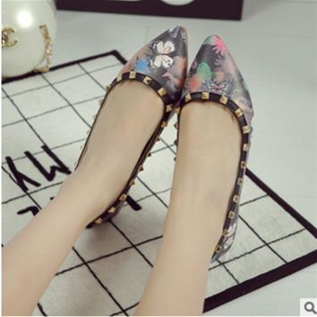 Lady's Printed Leather Vintage Plus size 41 Appliques Flowers Rivets Pointy Toe Women's Loafer Match Shoes and Bag Italy On Flat