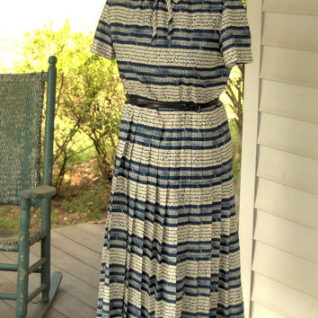 Vintage 1960s Woman's Pleated Blue and White Stripes Tailored Acetate Rayon Suit Dress with Jacket