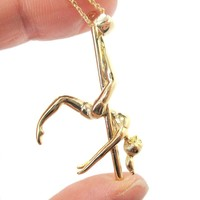 Pole Dancer Girl Leg Hang Aerial Dance Themed Necklace in Gold | DOTOLY