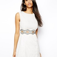 TFNC Skater Dress With Embellished Cut Outs