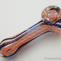 Blue Orange Twisted Glass Pipe