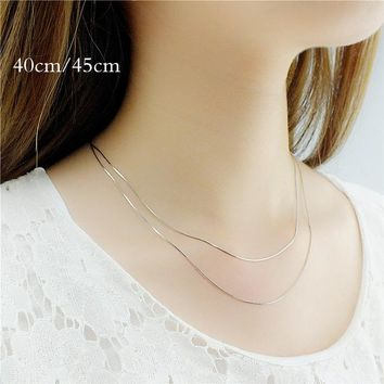 2018 retail 16 18 20 22 24 inch bulk c008 fashion silver 1MM snake chain accessory jewelry findings stamp 925