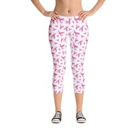 Breast Cancer Awareness Pink Ribbon Capri Leggings