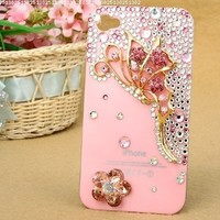niceeshop(TM) Bling Crystal Rhinestone Jeweled Case for iPhone 4 4S +Screen Protector (Pink Red Butterfly Bow Case)