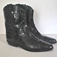 Black Leather Boots / short embossed booties / size 8