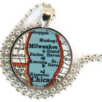 Milwaukee, Chicago pendant charm, map necklace, photo pendant