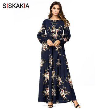 Siskakia Floral long Dress Muslim Elegant Vintage High Waist Swing Maxi Dresses Bishop Sleeve Tassel Drawstring print Dress Navy
