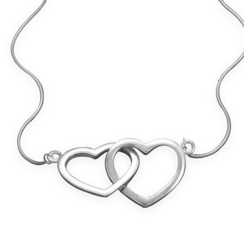 "17"" Rhodium Plated Linked Heart Necklace"