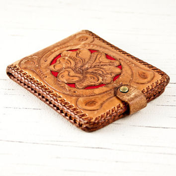 Vintage Wallet Hand Tooled Leather by goodmerchants on Etsy