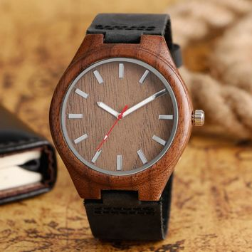 Simple Casual Wooden Watch Bamboo Handmade Genuine Leather Band