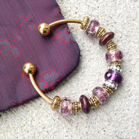Plum Bangle, OOAK, Charm Bracelet, Gold Bangle, Jewelry Gift, Bridesmaid Gift, Murano Glass, Beaded Bracelet, Rhinestone Bracelet