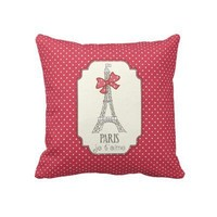 Red Polka Dots Paris Je t'aime Throw Pillow from Zazzle.com