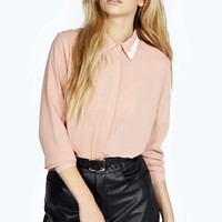 Simone Long Sleeve Daisy Collar Trim Shirt