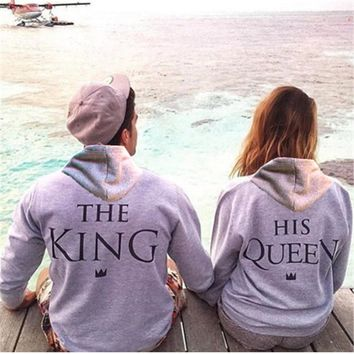 Top Quality love Couple women female Men Male anime streetwear Hoodie Sweatshirt KING QUEEN harajuku Hoody Jacket Coat