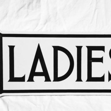Vintage Porcelain Sign, Ladies Restroom Sign, Double-Sided for a Hanger; Industrial Sign