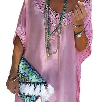 Rose Crochet Trimming Beach Cover up