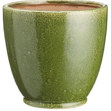 "Ceramic Flower Pot in Distressed Green - 6.5"" Tall x 7"" Wide"