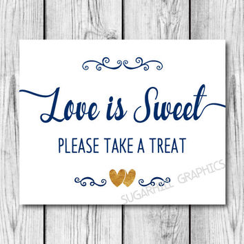 Wedding Sign, Printable Wedding Love Is Sweet Sign, Navy Blue Gold White Wedding Sign, Wedding Decor, Wedding Signage , Instant Download