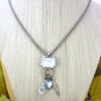 Swarovski crystal charm necklace, large octagonal clear crystal, dangling charms on antique silver plated chain, Siggy OOAK