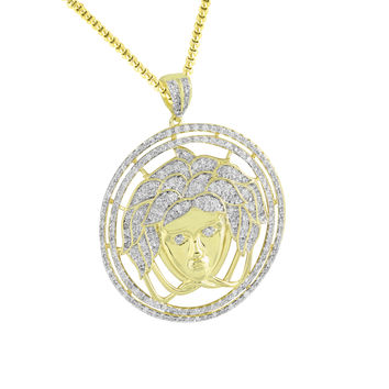 Medusa Face Pendant 14K Yellow Gold Finish Steel Necklace New