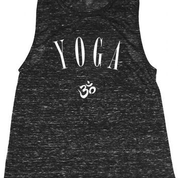 Black Om Yoga Muscle Tee