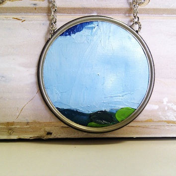 Landscape Necklace  Oil on Canvas in Rustic Frame by Ayliss
