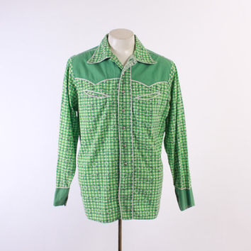 50s Men's Cotton WESTERN SHIRT / 1950s Bright Green Plaid Rockabilly Shirt M - L