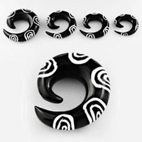 PAIR Steel / Organic Natural Expander Taper Curved Stretcher Spiral Ear Guage