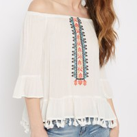 Ivory Southwest Tassel Off-Shoulder Top | Cold Shoulder | rue21