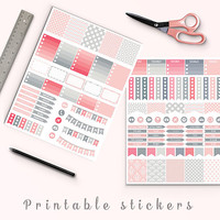 50% OFF Erin Condren Pink And Gray Planner Stickers Printable Stickers Mambi Kikki K Box Stickers Page Flags Weekend Banners To Do Stickers