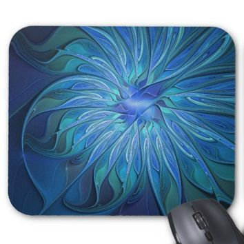 Blue Flower Fantasy Pattern, Abstract Fractal Art Mouse Pad
