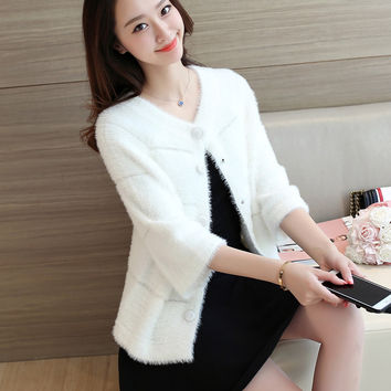 Make spot 2016 and women's clothing more mohair sweaters female knit cardigan coat