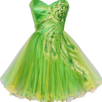 Peacock Embroidery Green Short Homecoming Dress