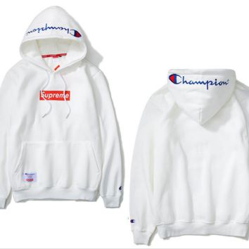 The new tide brand solid color embroidery Champion cotton long - sleeved velvet hooded sweater White
