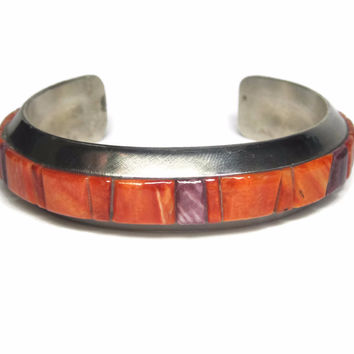 Chunky Vintage Navajo Cobblestone Spiny Oyster Inlay Cuff Bracelet Brian Brown