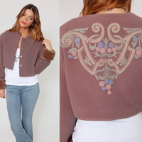 Vintage 90s WOOL Cropped Jacket Mauve Bolero with Baroque EMBROIDERY